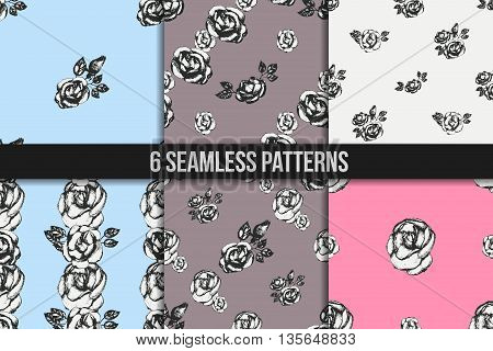 Vintage black and white rose seamless pattern set. Digital paper set. Wrapping paper. Six floral backgrounds in pink, blue and grey colours
