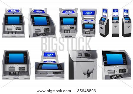 Set ATM terminal modern style, touch screen monitor. 3D Graphic