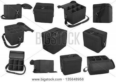 Set baggage, bag car black color. 3D Graphic