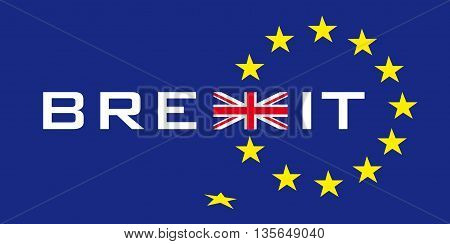 typographic symbol concerning brexit with union jack and stars of european flag