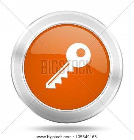 key vector icon, metallic design internet button, web and mobile app illustration
