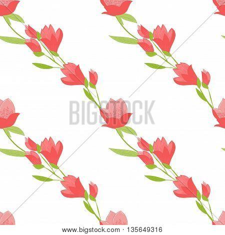 Seamless vector pattern with Tulips. Spring floral background. Good for wrapping paper