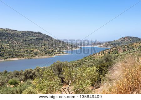The Faneromenis reservoir in the south-central of Crete. The Techniti Limni Faneromenis named in greek, is located in the southern foothills of the Ida mountain massif. The reservoir is important for the water supply in the Messara Plain and the region in