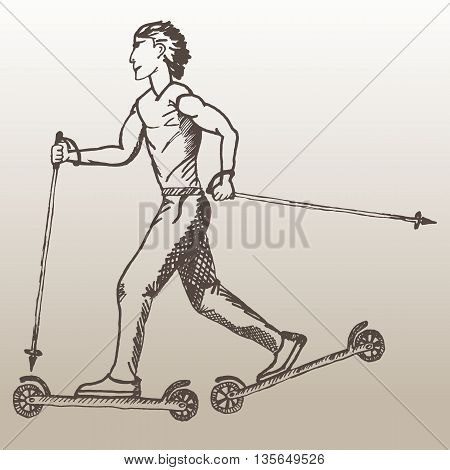 Roller skiing sketch of man. Guy roller skiing on the light brown background. Man roller skiing. Art design for sport.
