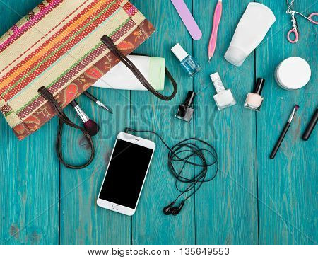 Travel Concept - Summer Women Set With Straw Bag, Smartphone With Headphones, Cosmetics Makeup And E