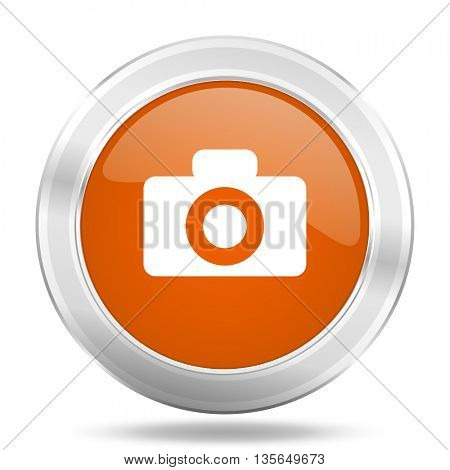 camera vector icon, metallic design internet button, web and mobile app illustration