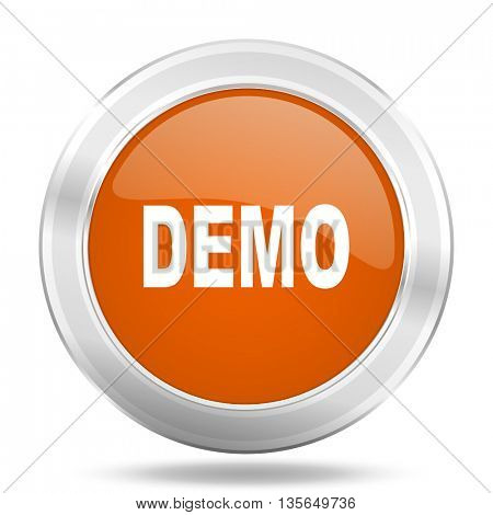 demo vector icon, metallic design internet button, web and mobile app illustration