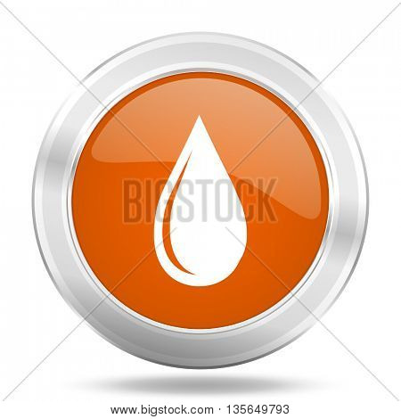 water drop vector icon, metallic design internet button, web and mobile app illustration