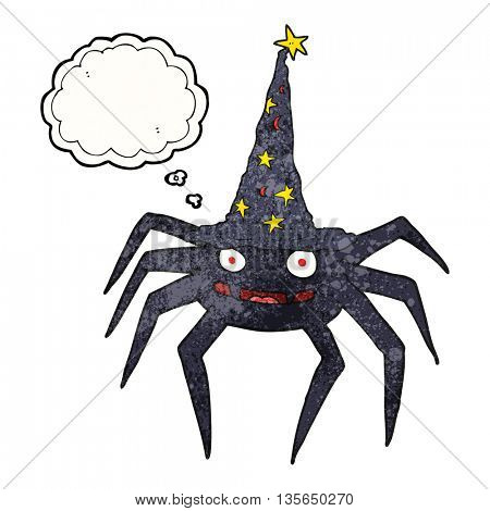 freehand drawn thought bubble textured cartoon halloween spider in witch hat