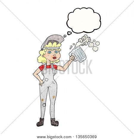 freehand drawn thought bubble textured cartoon hard working woman with beer