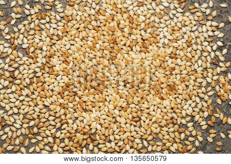 Roasted sesame seed on a black metal background