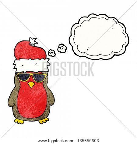 freehand drawn thought bubble textured cartoon cool christmas robin