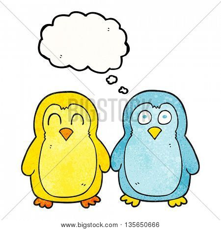 freehand drawn thought bubble textured cartoon birds holding hands