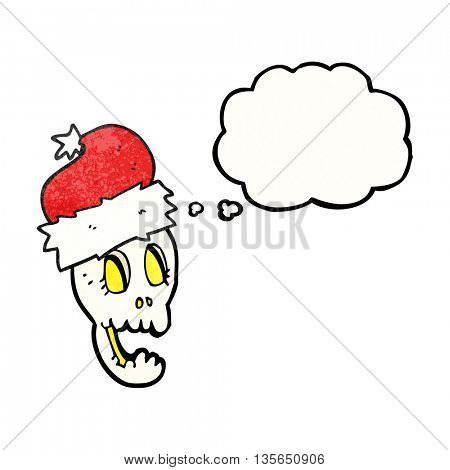 freehand drawn thought bubble textured cartoon christmas hat on skull