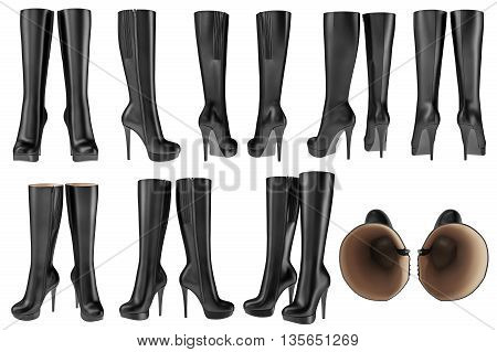 Set black shoes women's wellingtons leather zipper. 3D graphic