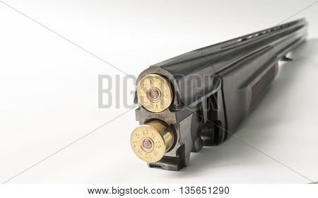 Part of shotgun and ammunition on a light background.