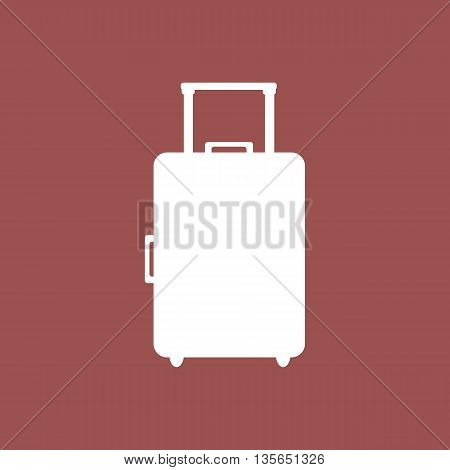 Stylized icon of a suitcase in white on a colored background