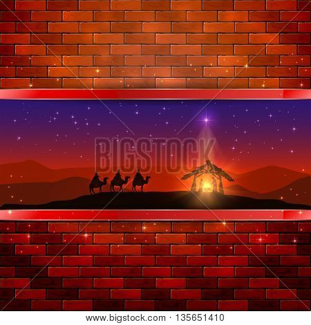 Christmas scene, the birth of Jesus with Christmas star and three wise men on brick wall background, illustration.