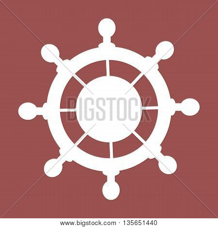 Stylized icon of steering wheel in white on a colored background