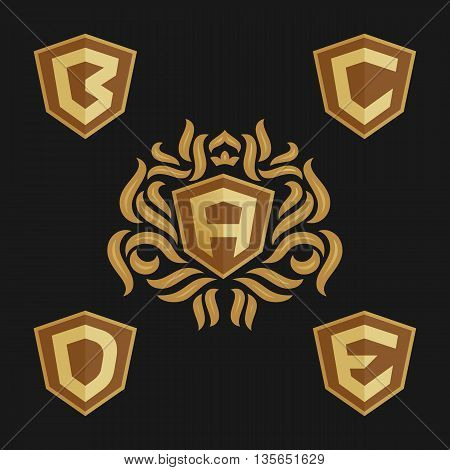 Decorative ornate monogram emblem template. Set of vector monogram. Vector sign. Shield with crown and letters from A to E.
