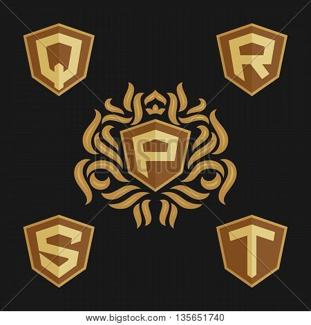 Decorative ornate monogram emblem template. Set of vector monogram. Vector sign. Shield with crown and letters from P to T.