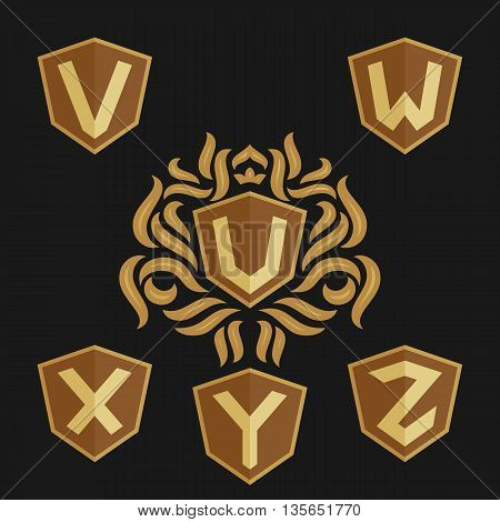 Decorative ornate monogram emblem template. Set of vector monogram. Vector sign. Shield with crown and letters from U to Z.