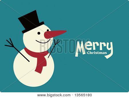 muñeco de nieve de vector de la tarjeta de Navidad