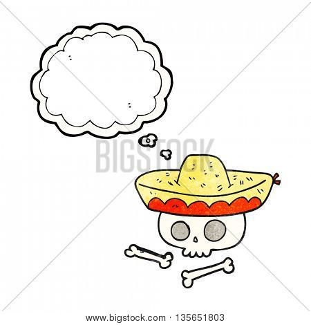 freehand drawn thought bubble textured cartoon skull in mexican hat