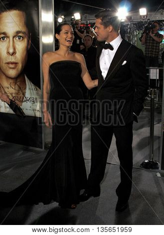 Angelina Jolie and Brad Pitt at the Los Angeles premiere of 'The Curious Case of Benjamin Button' held at the Mann Village Theater in Westwood, USA on December 8, 2008.