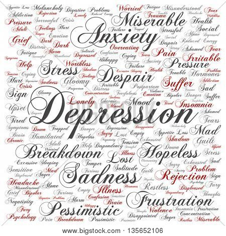 Vector concept conceptual depression or mental emotional disorder abstract square word cloud isolated on background