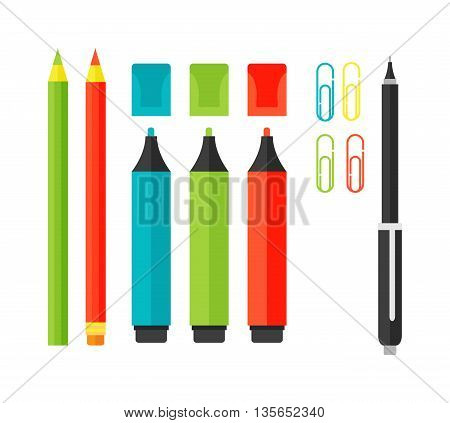 School tools supplies isolated on white. Vector illustration set tools pencil, pencil sharpener. School tools in the style of flat design. School tools vector illustration