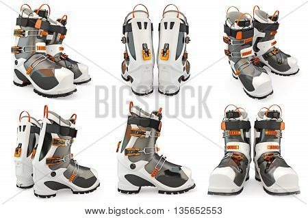 Set ski boots shoes, skiing. 3D Graphic