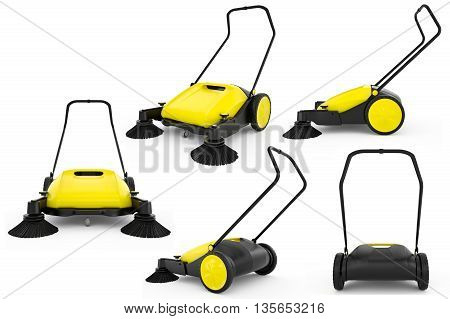 Set sweeper harvester isolated background. 3D Graphic