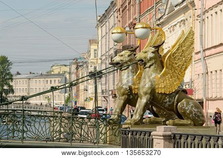 Numerous sculptures of lions are a landmark of the city Saint-Petersburg.They are very many items can the citylarge and small.