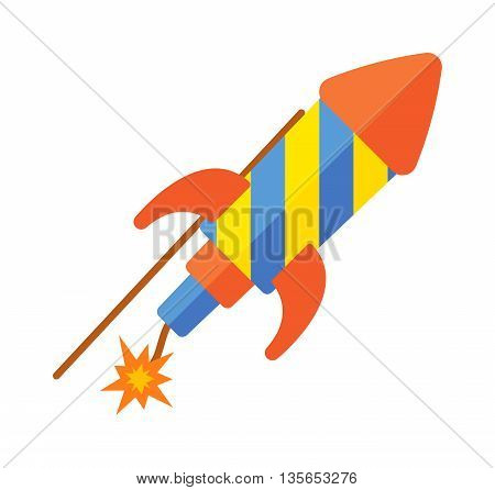 Childs toy rocket on white background. Future vehicle travel transport toy rocket futuristic metal missile symbol. Vector fly spacecraft star toy rocket retro science technology ship object.
