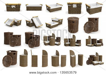 Set wicker baskets on white background. 3D graphic