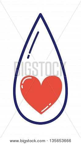 Life blood drop isolated on white. Nature shiny design water environment life drop. Isolated graphic, aqua rain blue droplet reflection concept life drop. Bright falling clean vibrant simple symbol.