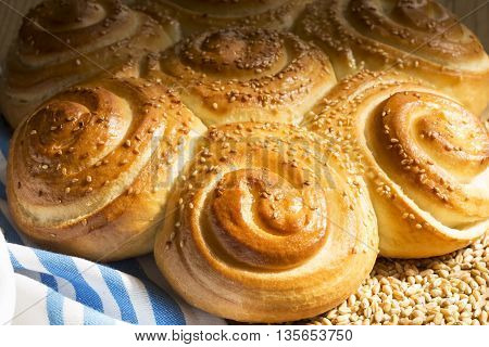 The homemade flower shaped bread close up