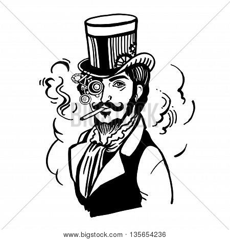 Steampunk man in top hat and glasses with the beard and moustache and a smoking cigarette, retro, vector illustration, man, steampunk, industrial, machine, vintage, sketch, hand drawn