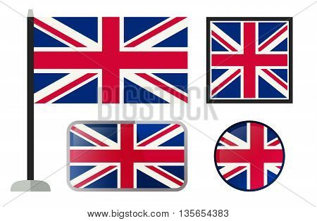 British flags. Simple vector icons set of England flags.