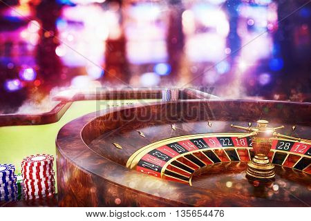 3D Rendering of roulette in a casino