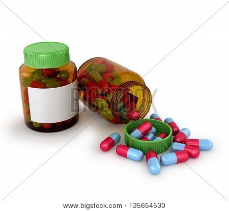 Medical tablets in a jar of glass isolated white background. 3d illustration