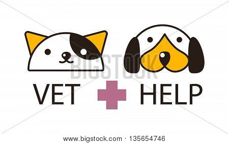Mixed breed puppy american curl cat had on white background. Cat and dog heads domestic kitten white feline and cute puppy mammal. Cute funny cat and dog heads portrait friendship vector symbol.