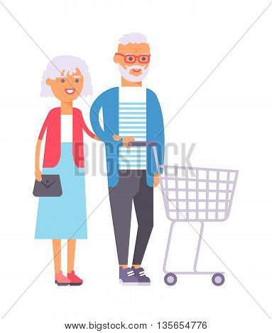 Handsome couple doing shopping city lights vector illustration. Buying happiness customer casual two shopping couple people. Happy beautiful old shopping couple indoors romance shopaholic embracing.