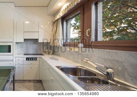 Interior of an old apartment, domestic kitchen