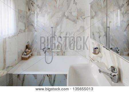 Interior of an old apartment, domestic bathroom