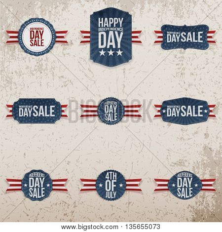 Independence Day 4th of July Sale patriotic Emblems Set. Vector Illustration