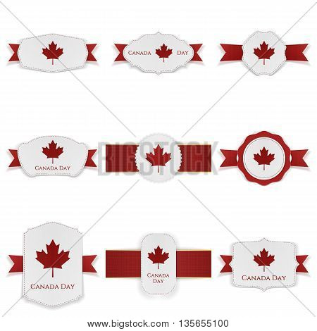 Canada Day festive Labels Set with Text. Vector Illustration