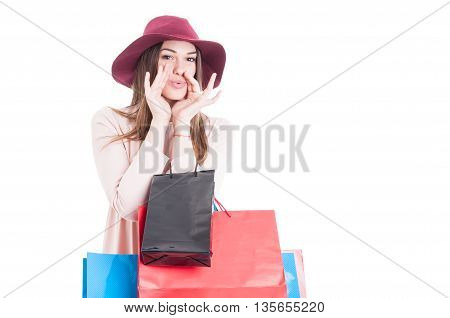 Beautiful Trendy Girl At Shopping Whistle For Somebody