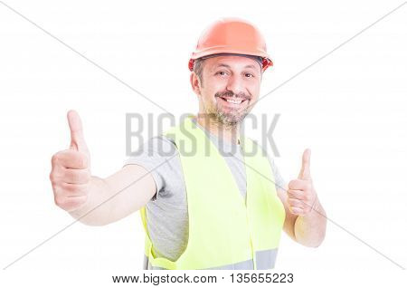 Cheerful Handsome Engineer With Helmet Doing Thumb Up Gesture